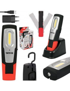 Yato Lampa Latarka Warsztatowa COB LED 6W z Bazą Ładującą 600 lm 3 Funkcje 2600 mAh