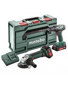 METABO BS18 + W18LTX ZESTAW NARZĘDZI AKUMULATOROWYCH WKRĘTARKA SZLIFIERKA AKUMULATOR 1X2.0AH 1X4.0AH 18V METABOX